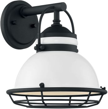 Nuvo 60-7081 Upton Gloss White and Textured Black Exterior 10 Wall Light Sconce
