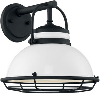 Nuvo 60-7082 Upton Gloss White and Textured Black Outdoor 12  Wall Lighting Fixture