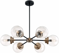 Nuvo 60-7126 Axis Modern Matte Black and Brass Lighting Chandelier