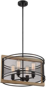 Nuvo 60-7264 Atelier Country Black and Honey Wood Drum Ceiling Light Pendant