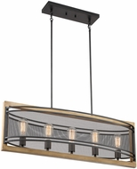 Nuvo 60-7265 Atelier Rustic Black and Honey Wood Island Light Fixture