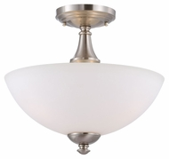 Nuvo 605044 Patton Semi Flush Mount 13 Inch Diameter Dome Brushed Nickel Ceiling Light