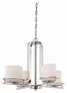 Nuvo 605104 Loren Polished Nickel 4 Lamp Modern Chandelier Lighting Fixture