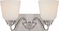 Nuvo 62-367 Calvin Brushed Nickel LED 2-Light Bathroom Lighting Fixture