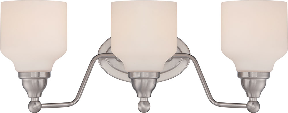 Nuvo 62 388 Kirk Polished Nickel LED 3 Light Bathroom Light Fixture.  Loading Zoom