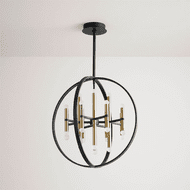 Oxygen 3-684-1540 Nero Contemporary Black and Aged Brass LED Mini Hanging Chandelier