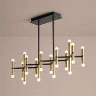 Oxygen 3-686-1540 Nero Modern Black and Aged Brass LED Kitchen Island Light Fixture