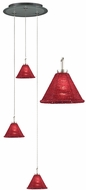 PLC 237-RED-with-12-inch-Glass-Pan Belmondo 3-Light Multi Pendant Lamp with Red Shade and Glass Pan Canopy