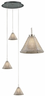 PLC 237-SILVER-with-12-inch-Glass-Pan Belmondo 3-Light Multi-Pendant Lamp with Silver Shade and Glass Pan Canopy