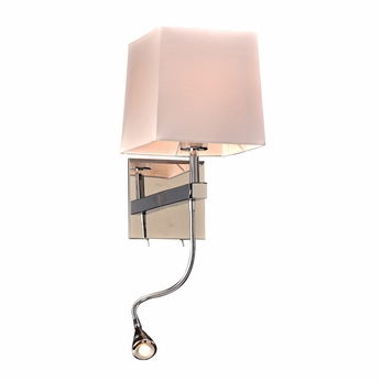 PLC 24210PC Rhythm Contemporary Polished Chrome Wall Sconce w/ LED Reading Light