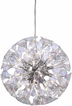 PLC 81666-PC Martini 28 inch Chandelier with Rainbow clear glass