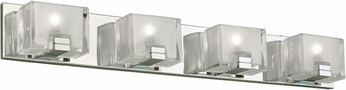 PLC 84424PC Filigre Modern Polished Chrome LED 4-Light Bathroom Wall Light Fixture