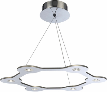 PLC 88822PC Starburst Contemporary Polished Chrome LED Hanging Pendant Lighting
