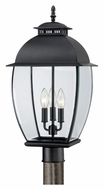 Quoizel BAN9011K Bain 3 Lamp Mystic Black Finish Outdoor Post Lamp Light
