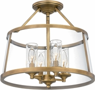 Quoizel BAW1716WS Barlow Modern Weathered Brass Flush Ceiling Light Fixture