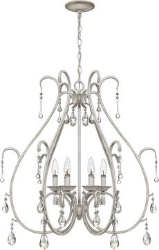 Quoizel BLC5006AWH Blanca Traditional Antique White Hanging Chandelier