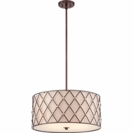Quoizel BWL2822CC Brown Lattice Copper Canyon Finish 10  Tall Drum Hanging Light