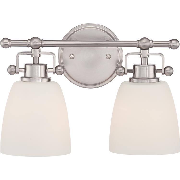Quoizel Bwr8602bn Bower Brushed Nickel Finish 13 Nbsp Wide 2 Light Bathroom Lighting Loading Zoom