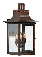 Quoizel CM8412AC Chalmers Large Exterior 23 Inch Tall Copper 3-Candle Classic Lantern Wall Mounted Lamp