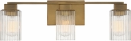 Quoizel DAN8624WS Danson Contemporary Weathered Brass 3-Light Vanity Light