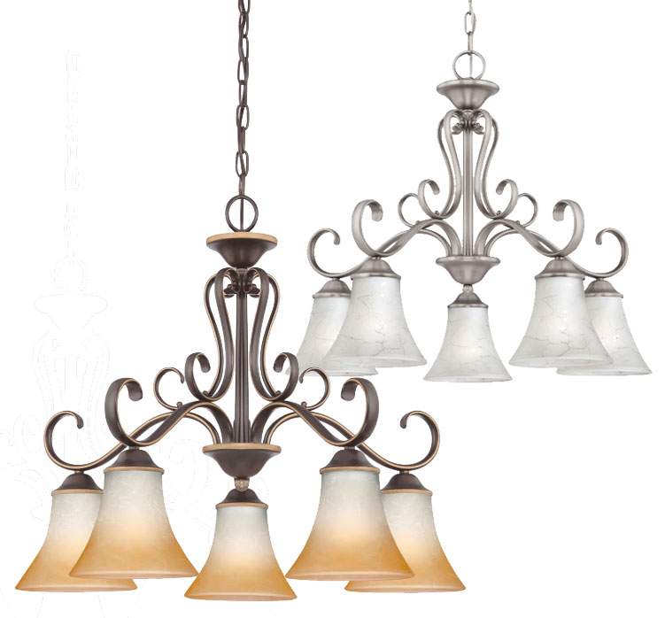 Nickel Dining Room Chandeliers: Quoizel DH5105AN Duchess Classic 5 Light Dining Room