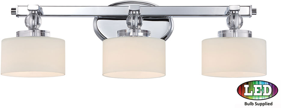 Quoizel Dw8603cled Downtown Polished Chrome Led 3 Light Vanity Fixture Loading Zoom