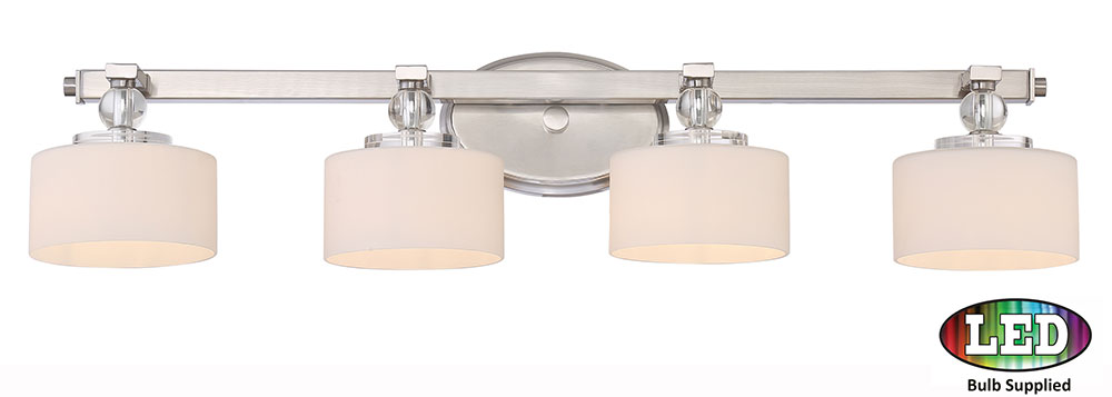 Quoizel DW8604BNLED Downtown Brushed Nickel LED 4 Light Bathroom Vanity  Light Fixture. Loading Zoom