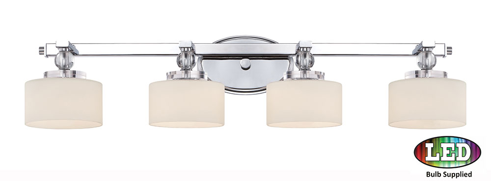 Quoizel DW8604CLED Downtown Polished Chrome LED 4-Light Bathroom Wall Sconce. Loading zoom