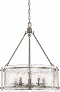 Quoizel FTS2821MM Fortress Contemporary Mottled Silver Drum Hanging Lamp