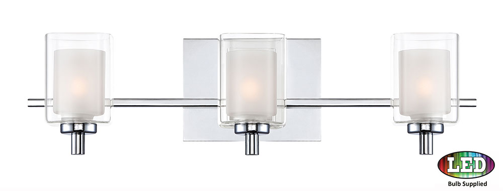Chrome Bath Lighting Fixtures: Quoizel KLT8603CLED Kolt Contemporary Polished Chrome LED