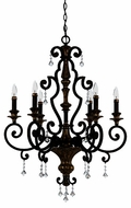 Quoizel MQ5006HL Marquette Heirloom 6 Light Chandelier with Crystal Drops