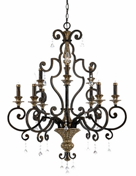 Quoizel MQ5009HL Marquette Heirloom 9 Light Chandelier with Crystal Drops