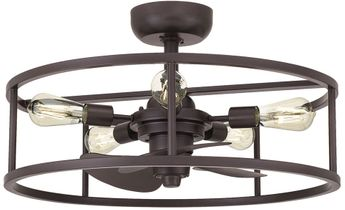 Quoizel NHR3024WT New Harbor Contemporary Western Bronze Fandelier Ceiling Fan