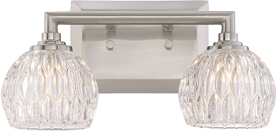 Quoizel Pcsa8602bn Platinum Collection Serena Modern Brushed Nickel Xenon 2 Light Bathroom Light Fixture Quo Pcsa8602bn