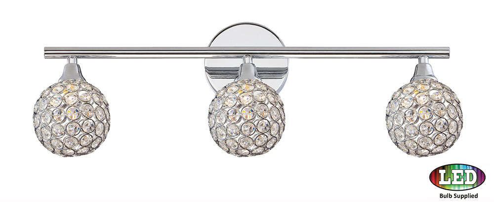 Quoizel Pcsr8603cled Platinum Collection Shimmer Polished Chrome Led 3 Light Bathroom Vanity Fixture Loading Zoom