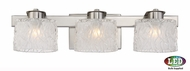 Quoizel PCSW8603BNLED Platinum Collection Seaview Contemporary Brushed Nickel LED 3-Light Bathroom Wall Light Fixture