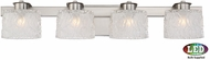 Quoizel PCSW8604BNLED Platinum Collection Seaview Contemporary Brushed Nickel LED 4-Light Bathroom Light
