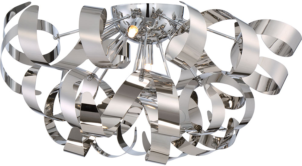 Quoizel RBN1622C Ribbons Modern Polished Chrome Xenon Flush Mount ...