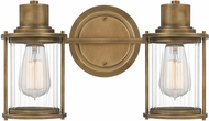 Quoizel RIG8615WS Riggs Contemporary Weathered Brass 2-Light Bathroom Light