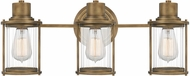 Quoizel RIG8622WS Riggs Contemporary Weathered Brass 3-Light Bathroom Lighting Fixture