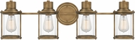Quoizel RIG8630WS Riggs Contemporary Weathered Brass 4-Light Vanity Lighting