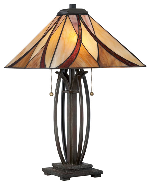 Quoizel Tf1180tva Tiffany Table Lamp In Bronze Finish 25 Inches Tall