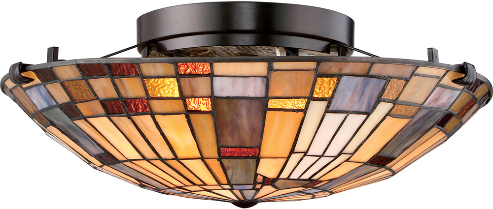 Quoizel Tfik1617va Inglenook Tiffany Valiant Bronze Flush Mount Ceiling Light Fixture Loading Zoom