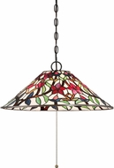 Quoizel TFRB1821VB Red Blossom Tiffany Vintage Bronze Pendant Lamp
