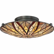 Quoizel TFVY1400VA Victory Tiffany Valiant Bronze Flush Mount Light Fixture