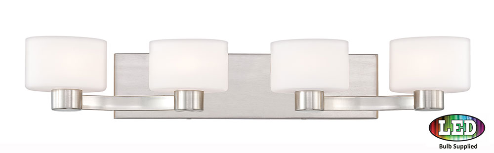 Quoizel Tu8604bnled Tatum Contemporary Brushed Nickel Led 4 Light Bathroom Vanity Fixture Loading Zoom