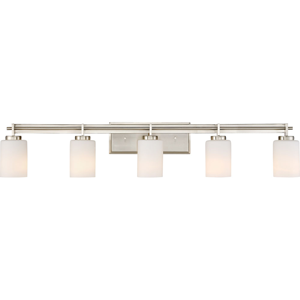 Modern Brushed Nickel 5 Light Vanity