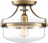 Quoizel UPPS1713WS Penn Station Contemporary Weathered Brass Flush Ceiling Light Fixture