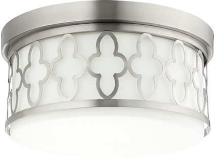 Quorum 342 14 65 Quatrefoil Satin Nickel Flush Mount Ceiling Light Fixture Loading Zoom