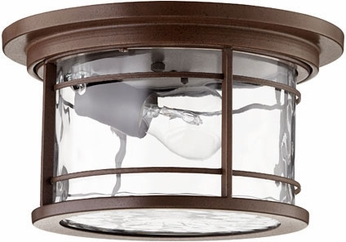 Quorum 3916-11186 Larson Oiled Bronze w/ Clear Hammered Glass Outdoor Flush Mount Lighting Fixture